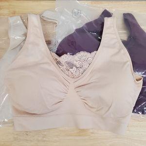 Rhonda Shear 3-Pack Cotton Blend Bra Lace, 3X